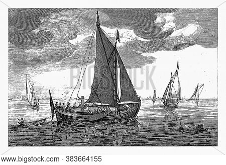 Heude or heu, Robert de Baudous (possibly), after Jan Porcellis, 1670 - 1726 A heude or heu on the water, vintage engraving.