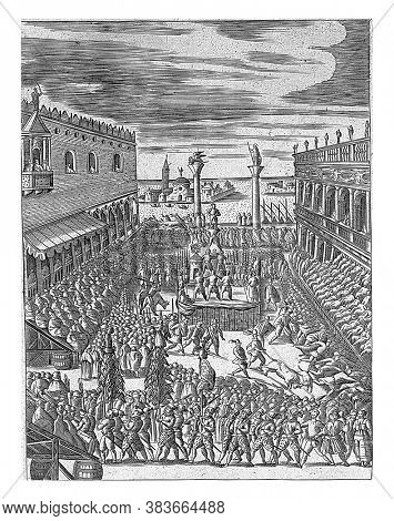 Celebration of Fat Thursday (Giovedi Grasso) at the Piazzetta in Venice. On the left the Doge's Palace and on the right the Biblioteca Marciana, vintage engraving.