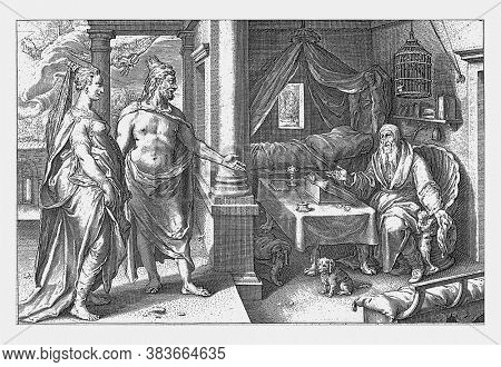 Juno and Jupiter disagree on the answer to the question of which of the sexes is more lust for love, vintage engraving.