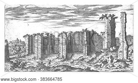 Ruins of the Baths of Caracalla in Rome, Etienne Duperac, 1575 View of the ruins of the Baths of Caracalla in Rome, vintage engraving.
