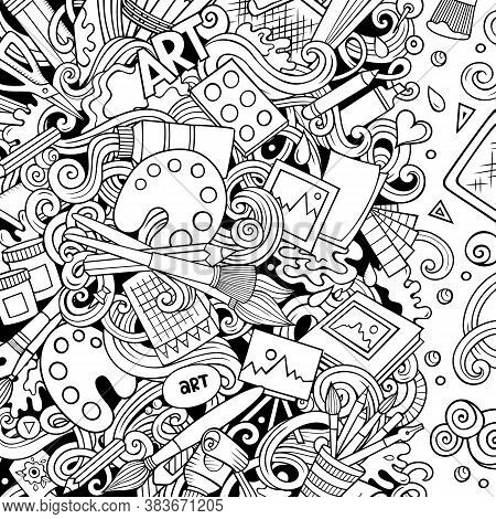 Cartoon Vector Doodles Art Card. Line Art Detailed, With Lots Of Objects Illustration. All Items Are