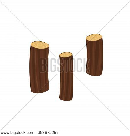 Vector Icon Wood Log And Trunk, Stump And Plank.