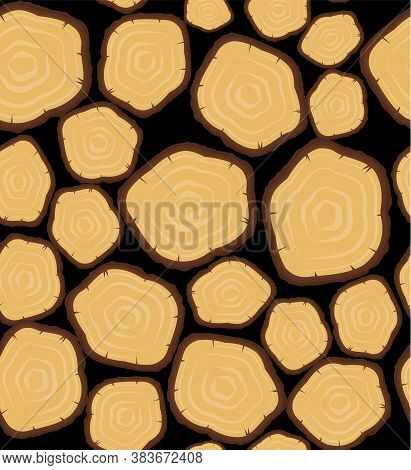 Seamless Vector Pattern With Wood Logs, Trunks And Planks. Background For Forestry And Lumber Indust