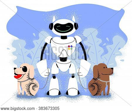 Robot Walks With Dogs. Android People Assistant. Artificial Intelligence Technology. Futuristic Serv