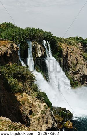 Waterfall Duden Falling Into The Mediterranean Sea With Waterfall Stream. Summer View Of Waterfall I