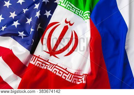 Flags Of Iran, Usa And Russia Together
