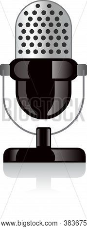 Vector Image Of Mic, Isolated On White Background.