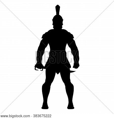 Silhouette Of A Spartan Warrior In Armor With A Sword. Greek Hero. King Leonidas. God Of War Ares. V