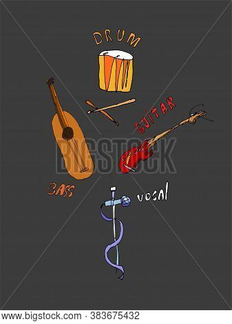 Abstract Funny Musical Instruments - Cartoon And Abstract Drawing On A Theme Musical Instruments.