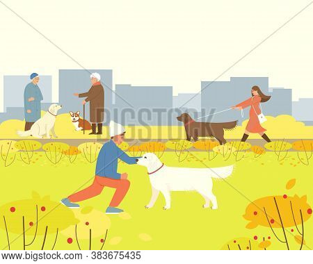 People With Their Dogs Are Walking In The Autumn Park. Labrador And Corgi Sit Next To Their Owners.