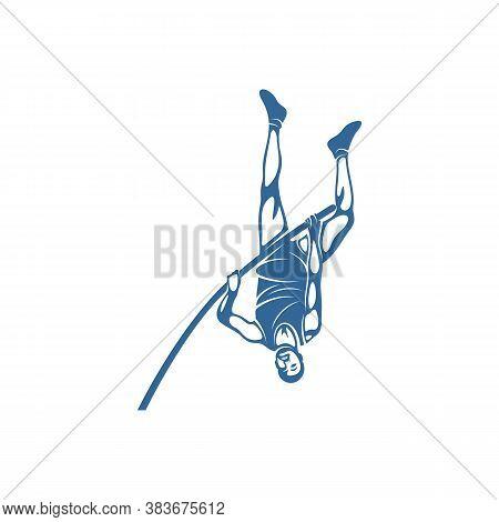 High Jump Design Vector Illustration, Athletic High Jump Logo Template