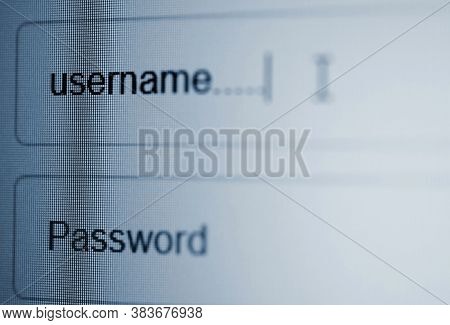 Closeup Of Lcd Screen With Login Page With Username And Password Column In Internet Browser.