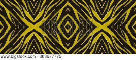 Seamless Safari Background. Abstract Cheetah Texture. Gold Animal Fur Pattern. Watercolor Stripes. J