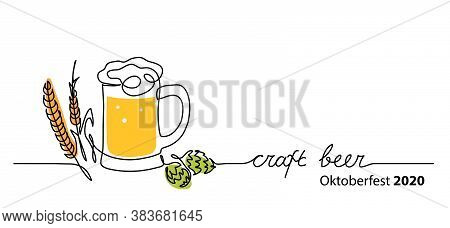 Craft Beer Vector Banner, Background With Beer Glass, Hop And Barley Spikelet. One Continuous Line D