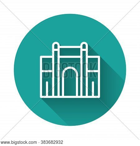 White Line India Gate In New Delhi, India Icon Isolated With Long Shadow. Gate Way Of India Mumbai.