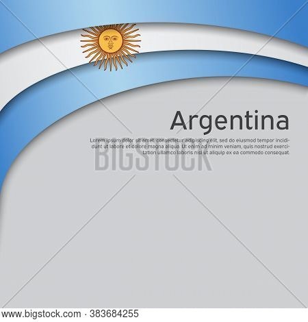 Abstract Waving Flag Of Argentina. Paper Cut Style. Creative Background For Argentina Patriotic Holi