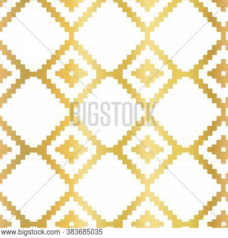 Gold Foil Abstract Seamless Vector Pattern With Golden Ikat Rhombus Shapes On White. Geometric Repea