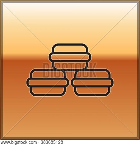 Black Line Macaron Cookie Icon Isolated On Gold Background. Macaroon Sweet Bakery. Vector