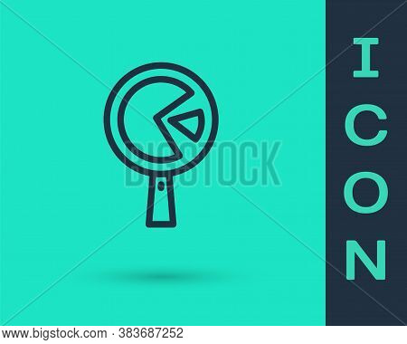 Black Line Omelette In Frying Pan Icon Isolated On Green Background. Omelet In A Skillet. Vector