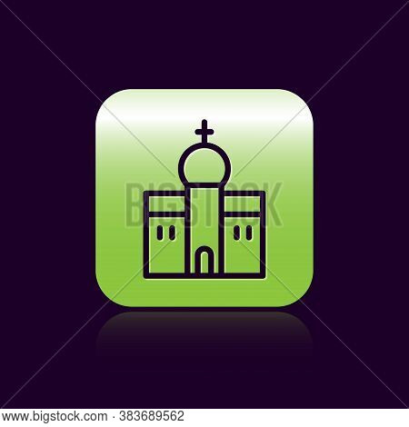 Black Line Church Building Icon Isolated On Black Background. Christian Church. Religion Of Church.
