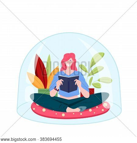 Young Girl Sitting Under Transparent Dome And Reading Book On Houseplants Background. Personal Space