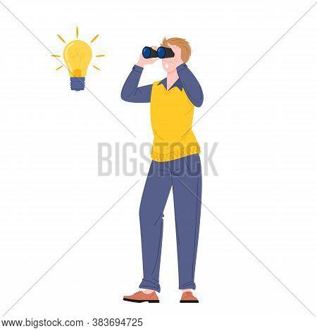 Young Man Looking Through Binoculars Standing, Near Light Bulb Symbol Idea. Plagiarism Or Idea Searc