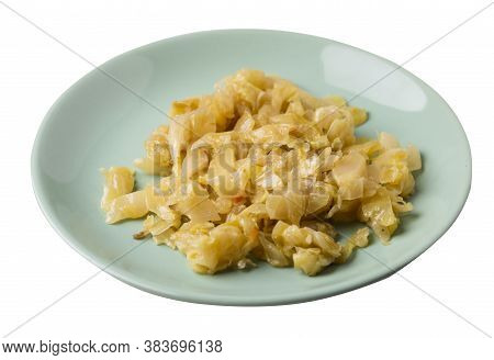 Braised Cabbage In Light Green Plate Isolated On White Background. Braised Cabbage Top Side View .he