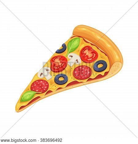 Slice Of Pizza With Tomato, Pepperoni And Mushrooms. Cartoon Italian Pizza For Menu Cafe Design. Vec