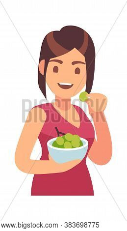 Woman Eating Healthy Food. Girl Eats Meal. Hungry Female Character With Bowl With Grape, Lunch Or Di