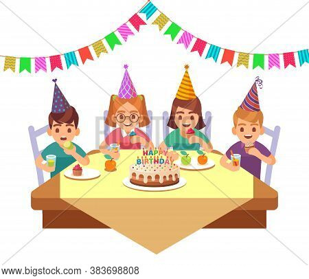 Birthday Happy Child. Children In Fective Cone Hat Eat Cake With Candles, Fruit And Drink Cocktails