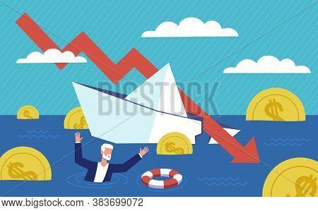 Bankruptcy Business. Financial Rescue, Depressed Businessman Survive. Economic Financial Crisis, Sin