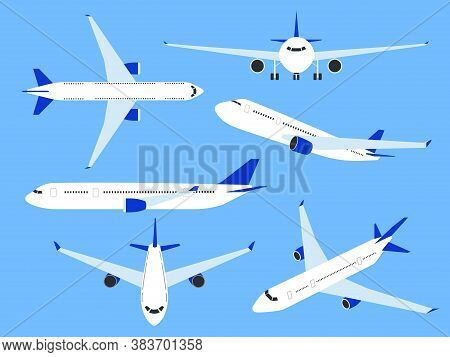 Aircraft. Airplane Top, Side And Front View, Fast Transport Charter. Cargo Airlines With Wing, Comme