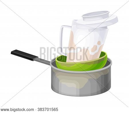 Stack Of Dirty Dishes And Utensils With Bowl And Saucepan Vector Illustration