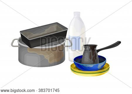 Stack Of Dirty Dishes And Utensils With Plates And Saucepan Vector Illustration