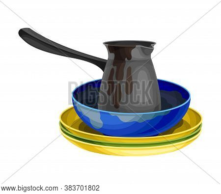 Stack Of Dirty Dishes And Utensils With Plates And Jezve Vector Illustration