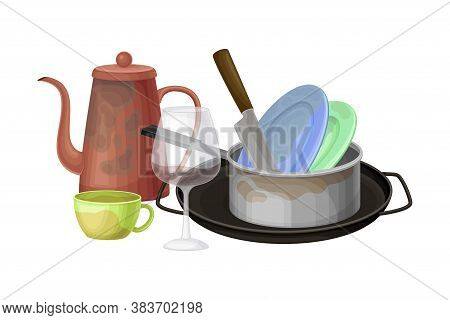 Dirty Utensils And Dishes Piled For Washing Up Vector Illustration