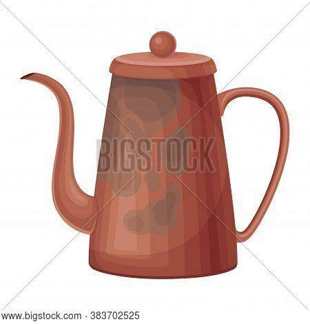Dirty Ceramic Tea Kettle For Washing Up Vector Illustration