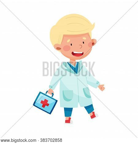 Smiling Boy In Medical Wear Carrying First Aid Kit Vector Illustration