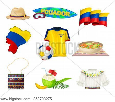 Ecuador Attributes With National Flag And Clothing Vector Set
