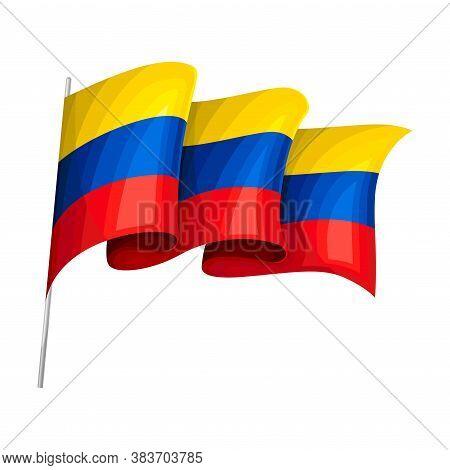 Waving Ecuadorian Flag On Pole As Country Attribute Vector Illustration