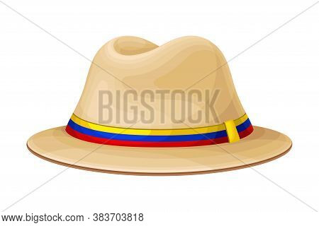 Ecuadorian Wide Brimmed Hat As Traditional Headdress Vector Illustration