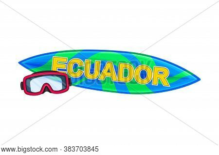 Surf Board With Watersport Goggles As Ecuador Attribute Vector Illustration