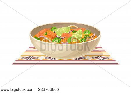 Seafood Soup With Lime And Potherbs Served In Bowl As Ecuador Dish Vector Illustration