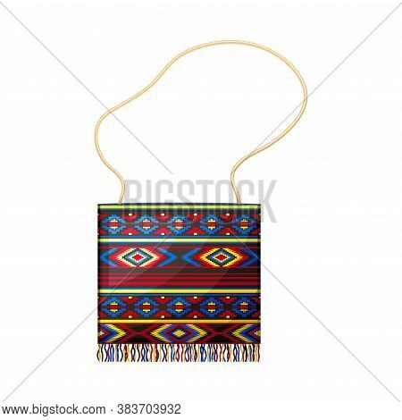 Ecuadorian Bag With Strap As Traditional Accessory Vector Illustration