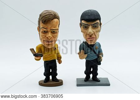 Bologna / Italy - September 3, 2020: Captain Kirk And Mr Spock Hand Painted Bobble Head From Star Tr