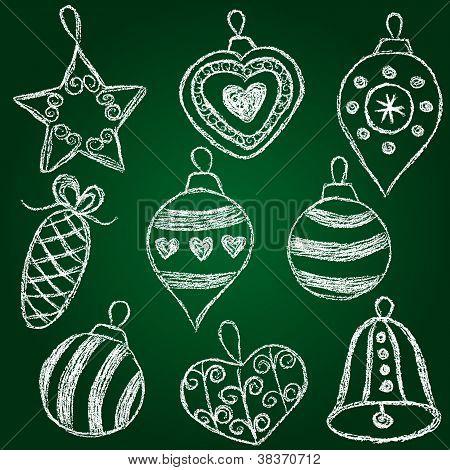Christmas Decorations  - Chalk On Schoolboard
