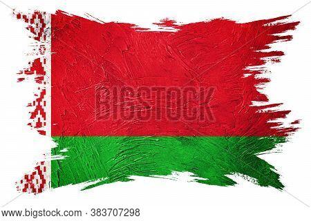 Grunge Belarus Flag. Belorussian Flag With Grunge Texture. Brush Stroke.