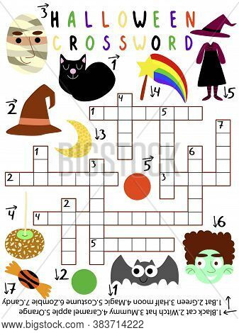 Funny Educational Halloween Crossword Stock Vector Illustration. Children Printable Vertical Game Wi