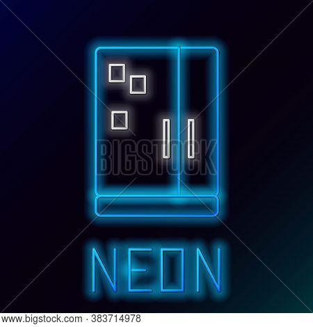 Glowing Neon Line Refrigerator Icon Isolated On Black Background. Fridge Freezer Refrigerator. House