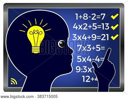 Virtual School From Home. Online Lesson In Mathematics For Children At Times Of Pandemic.
